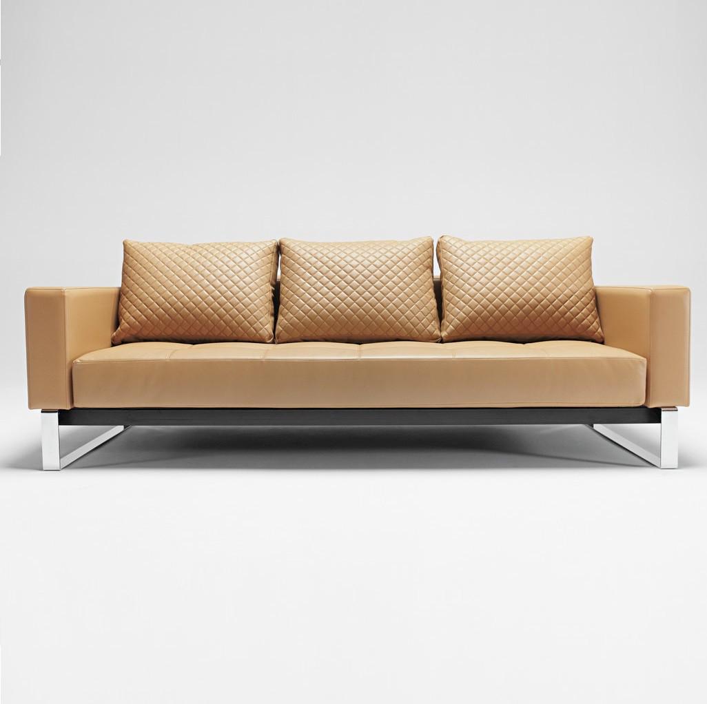 Cassius Q Deluxe Tan Leather Sleeper Sofa Chrome Zin Home