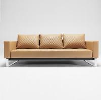 Cassius Q Deluxe Tan Leather Sleeper Sofa-Chrome Legs