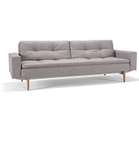 Innovation Modern Upholstered Dublexo Sleeper Sofa Bed With Arms in Grey Fabric with light wood legs