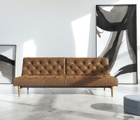 Innovation USA Oldschool Vintage Leather Chesterfield Sleeper Sofa Bed