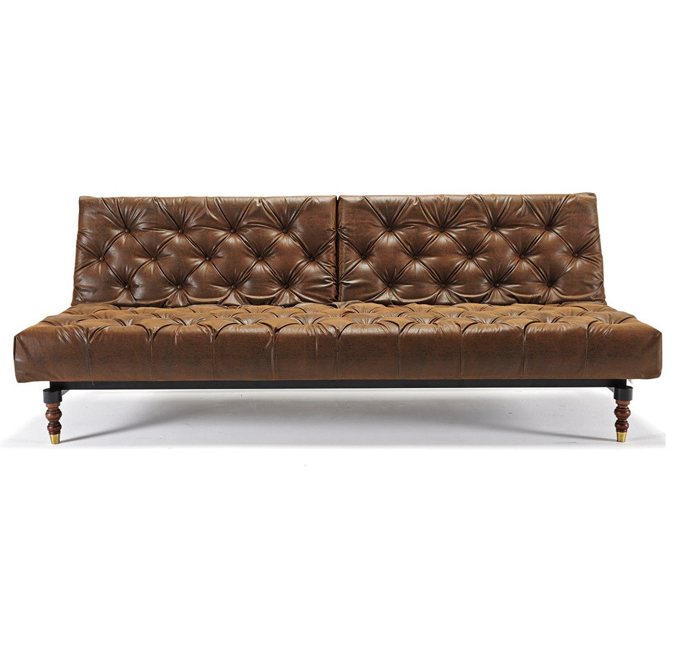Oldschool Leather Chesterfield Sofa Bed Retro Legs Zin Home