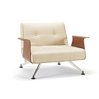 Mid-Century Modern  Clubber Recliner Chair with Wood Arms