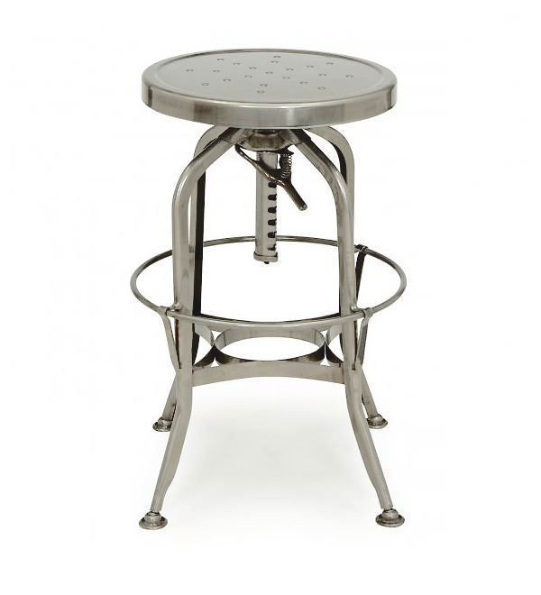Toledo Gunmetal Adjustable Industrial Metal Bar Stool