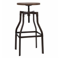 Adjustable wood and metal bar stools
