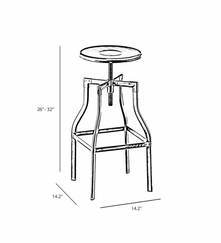 industrial adjustable wood and metal white bar stool industrial bar stool