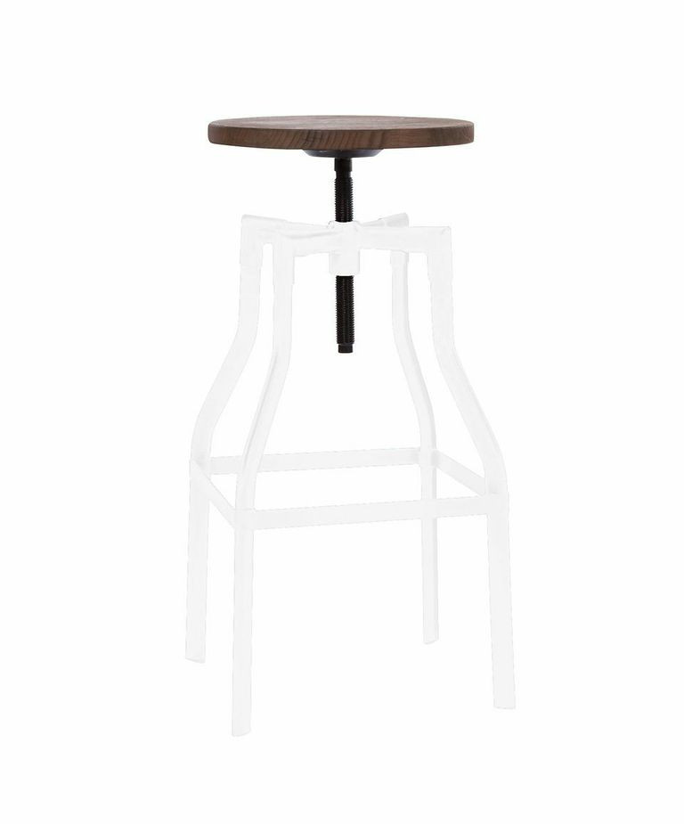 Industrial Wood And Metal White Bar Stool