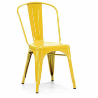 French Modern Industrial Metal Side Chairs in YELLOW