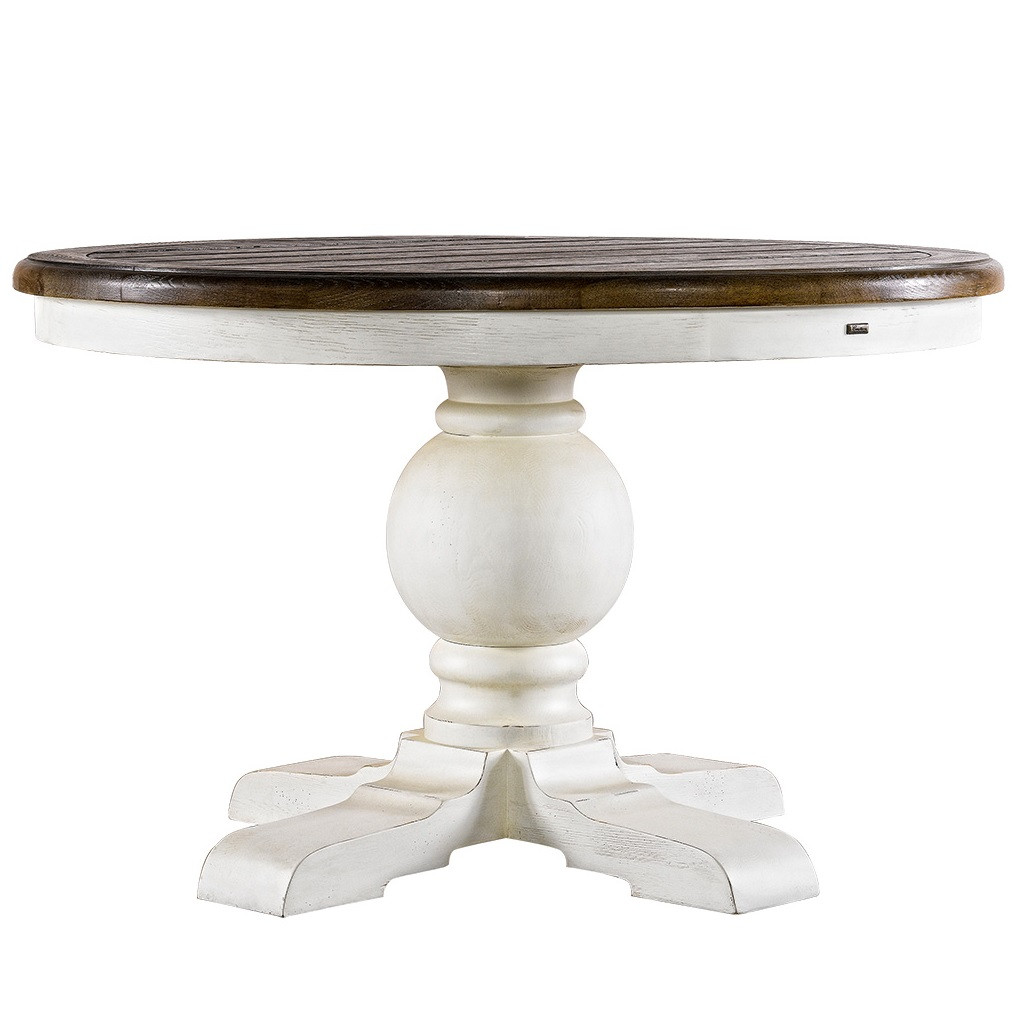 Kingdom antique white oak round pedestal dining table 48 for Dining room tables 48 round