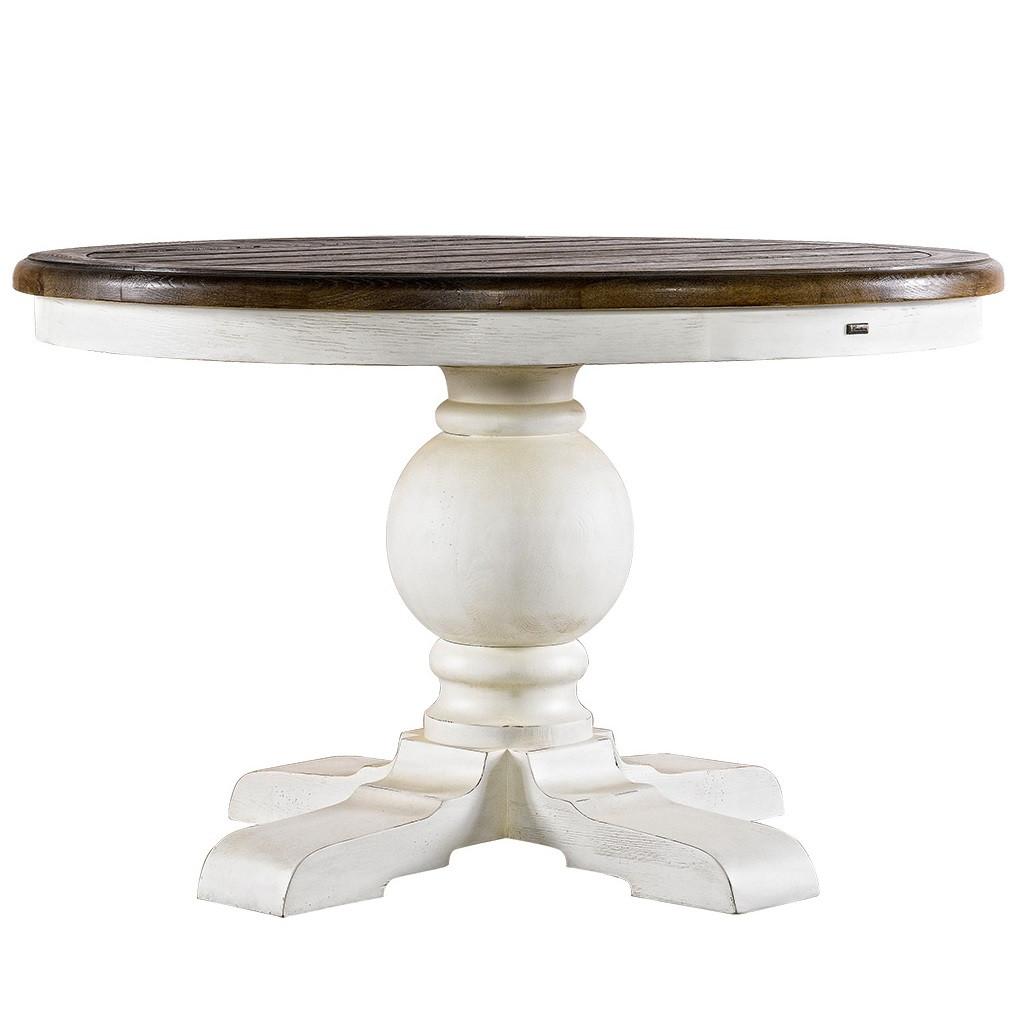 kingdom antique white oak round pedestal dining table 48 zin home. Black Bedroom Furniture Sets. Home Design Ideas