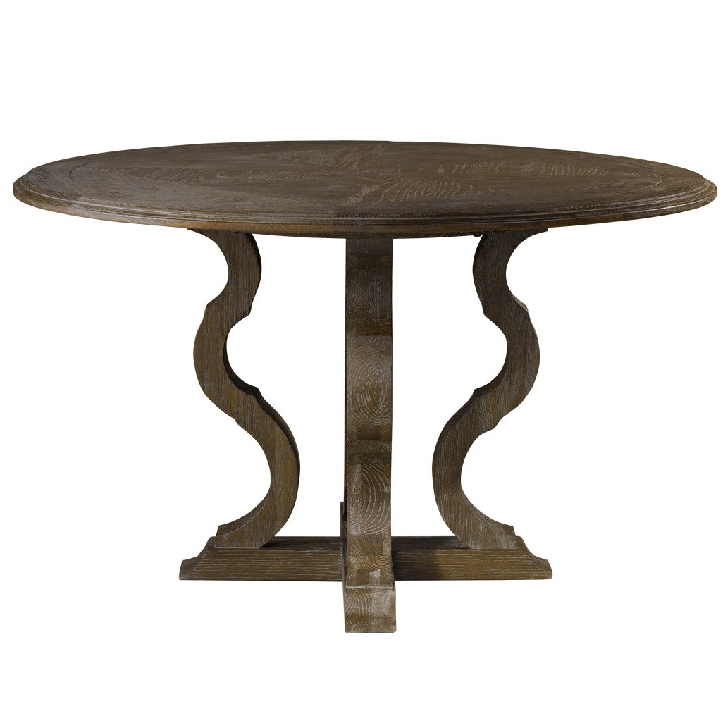 French grey oak wood round pedestal dining table 50 zin for Pedestal dining table