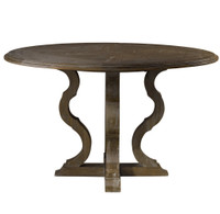 French Grey Oak Wood Round Pedestal Dining Table 50""