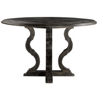 French Antique Black Round Pedestal Dining Table 50""
