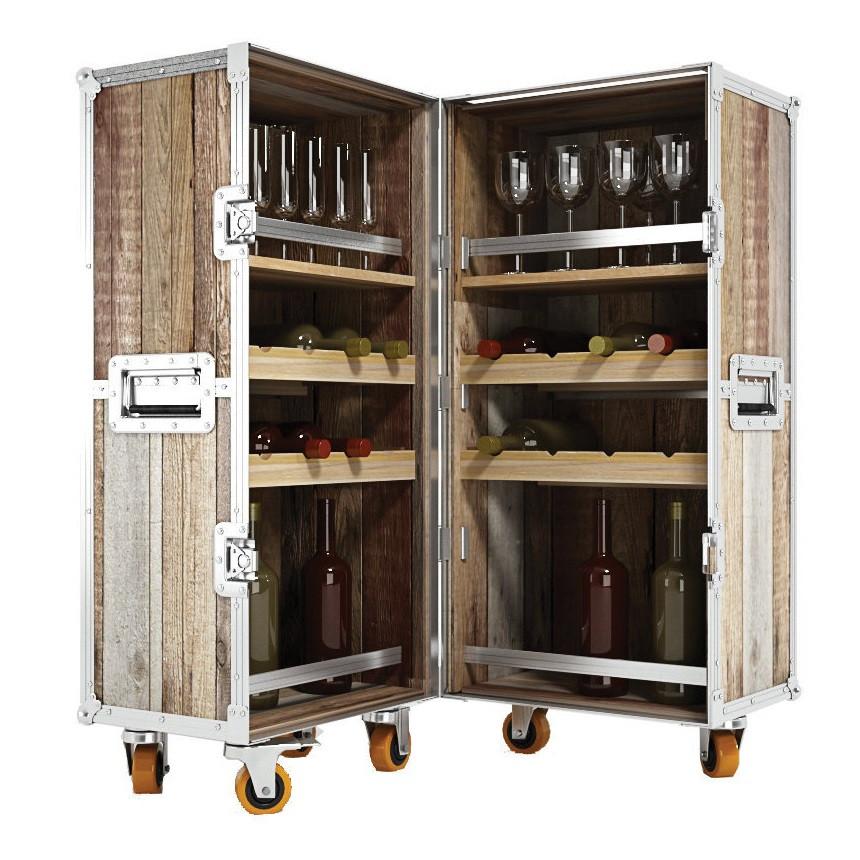 Industrial Loft Reclaimed Teak Trunk Bar Cabinet Zin Home