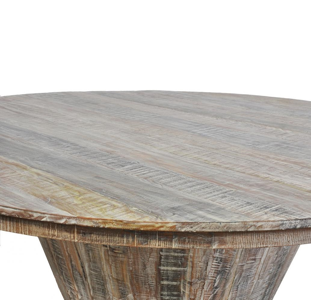 Hampton Reclaimed Wood Large Round Dining Table 80