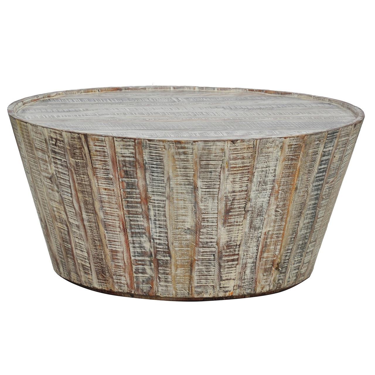 Hampton Rustic Wood Round Barrel Coffee Table 38