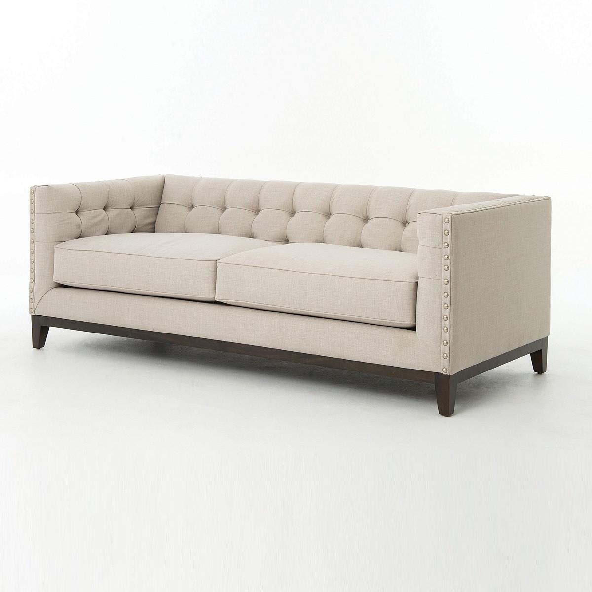 Modern Nailhead Sofa: Greenwich Modern Tufted Linen Nailhead Sofa