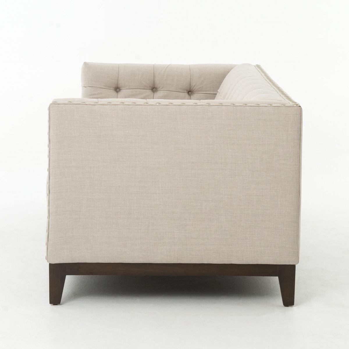 greenwich modern tufted linen nailhead sofa  zin home -  atelier greenwich linen sofa