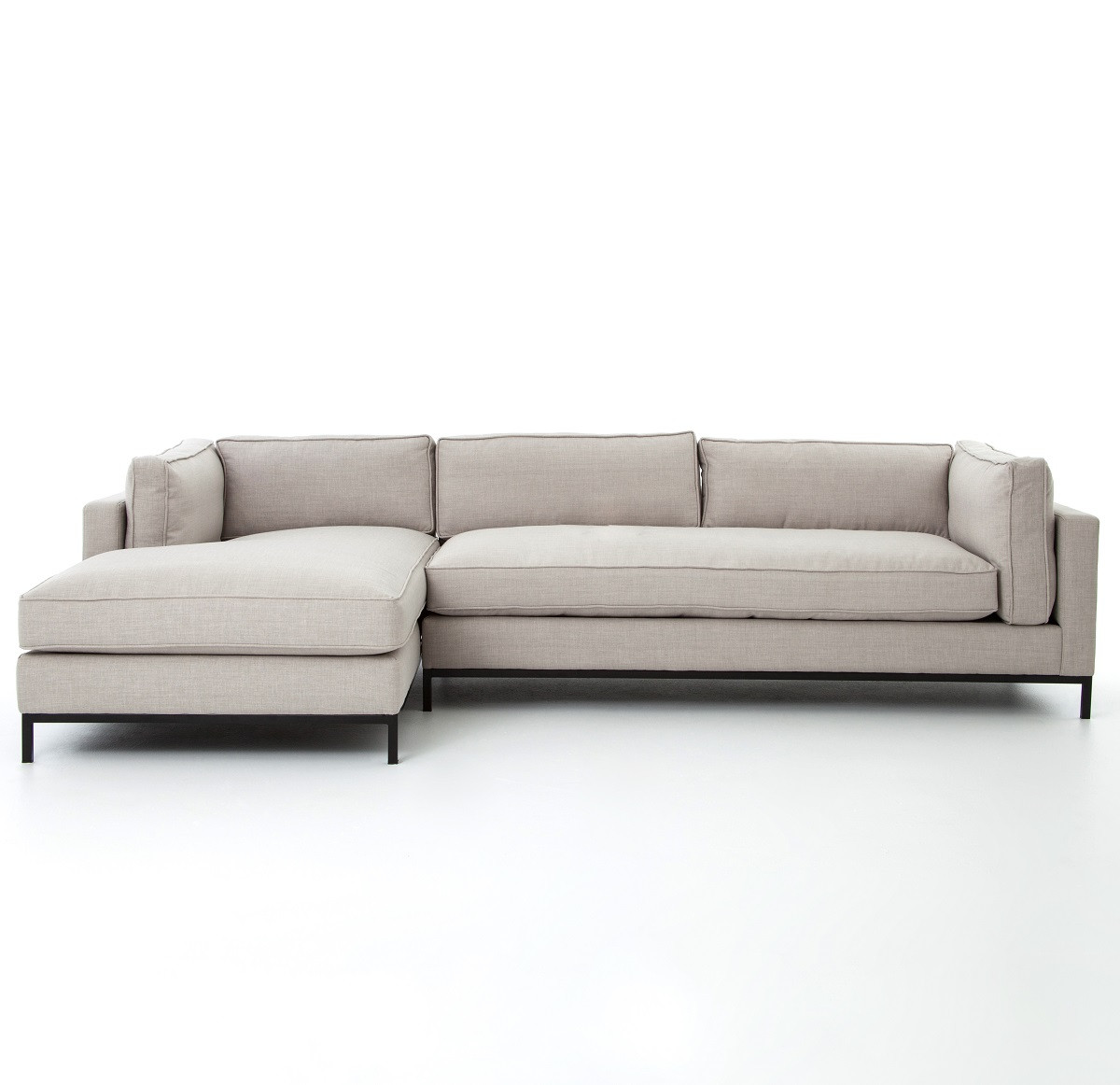 Contemporary Sectional: Grammercy Linen Upholstered Modern 2 Piece Sectional Sofa