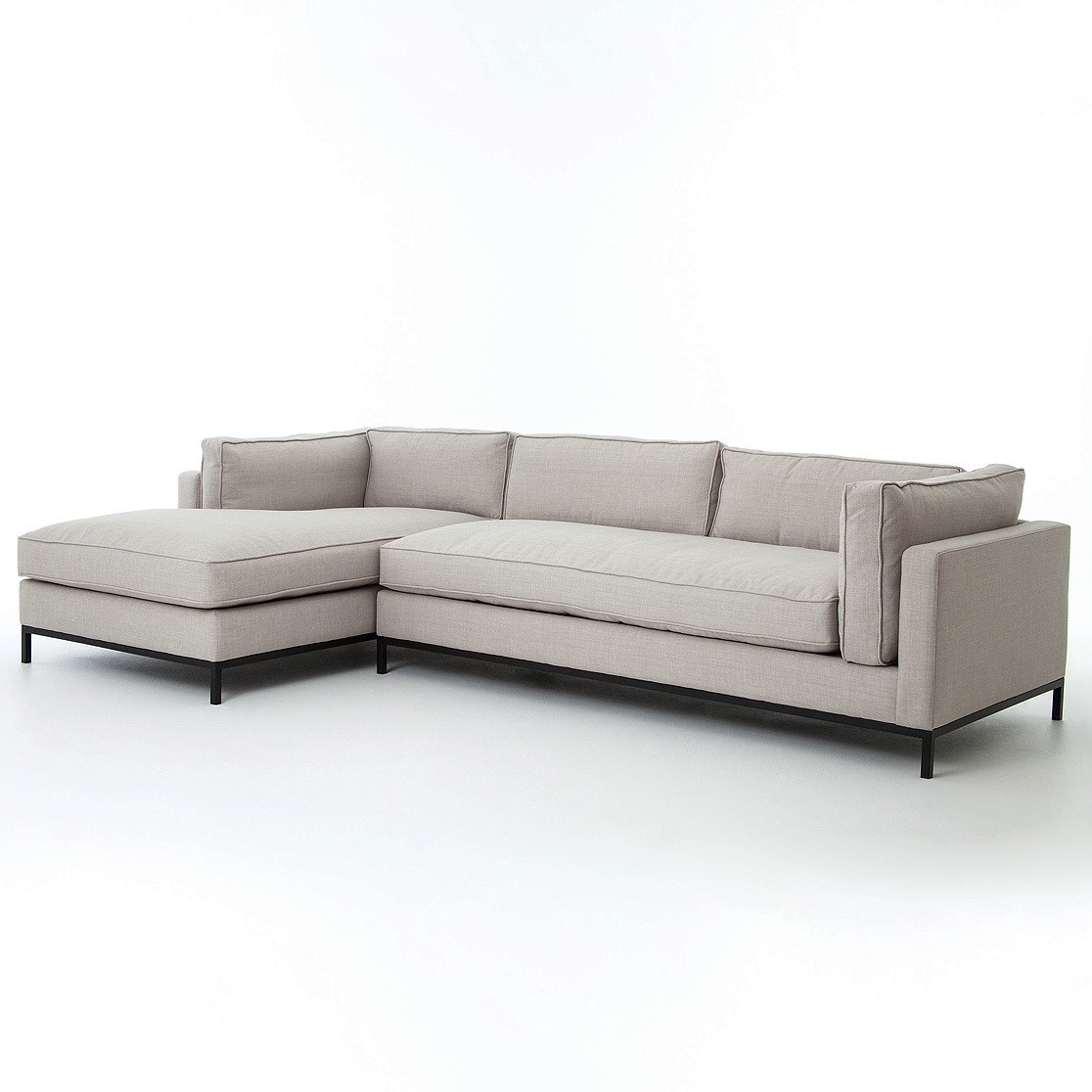 Diamond Modern White Leather U Shaped Sectional Sofa W: Grammercy Linen Upholstered Modern 2 Piece Sectional Sofa