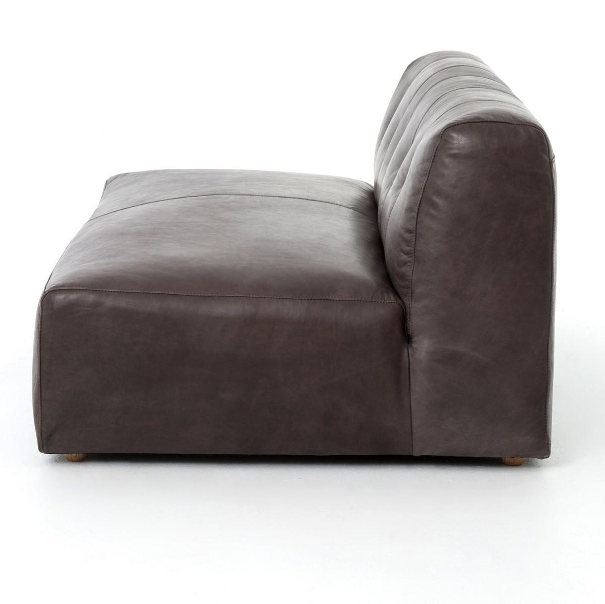 Rio Gunmetal Leather 2 Piece Sectional Sofa Zin Home
