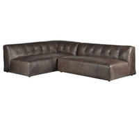 Rio Gunmetal Leather 2 Piece Sectional Sofa