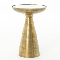 Marlow Mod Pedestal Table-Brushed Brass