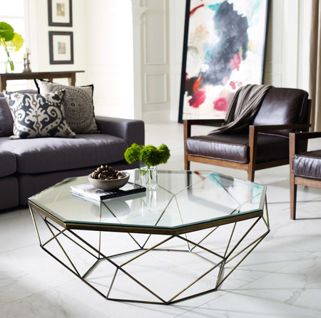 room coffee tables geometric antique brass coffee table with glass top