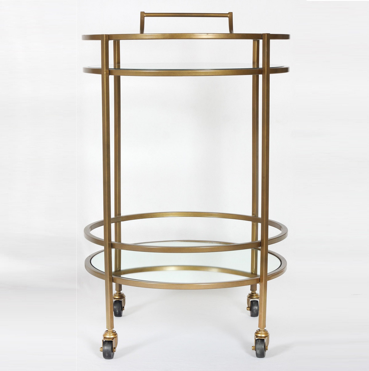 Petite Antique Brass and Glass Bar Cart Side Table  Zin Home