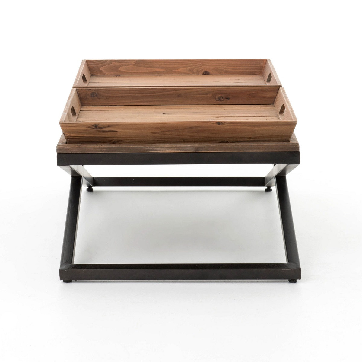 Suffolk Simplicity Reclaimed Wood Square Industrial Coffee: Jax X-Base Industrial Rectangular Coffee Table With Tray
