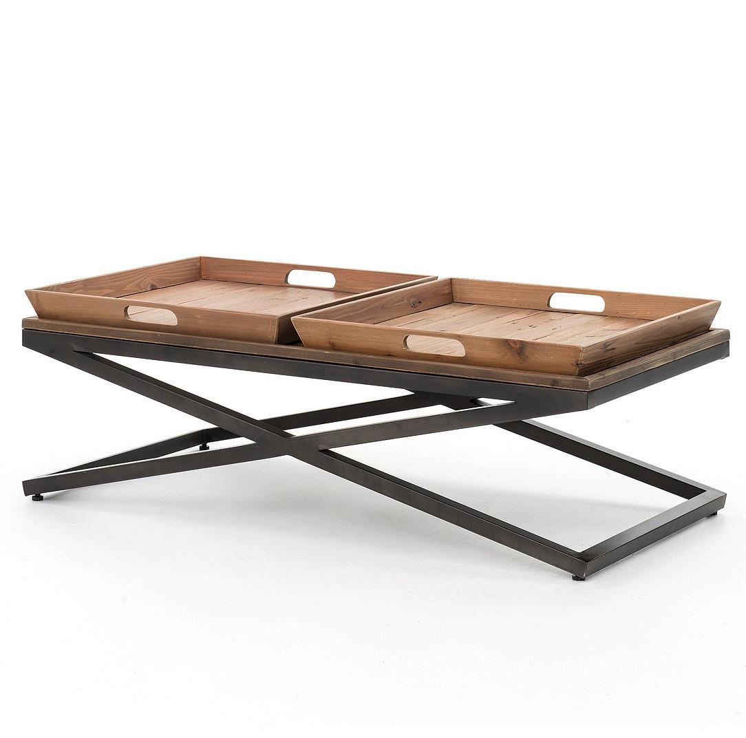 Coffee Table Industrial Jax X Base Industrial Rectangular Coffee Table With Tray Top Zin