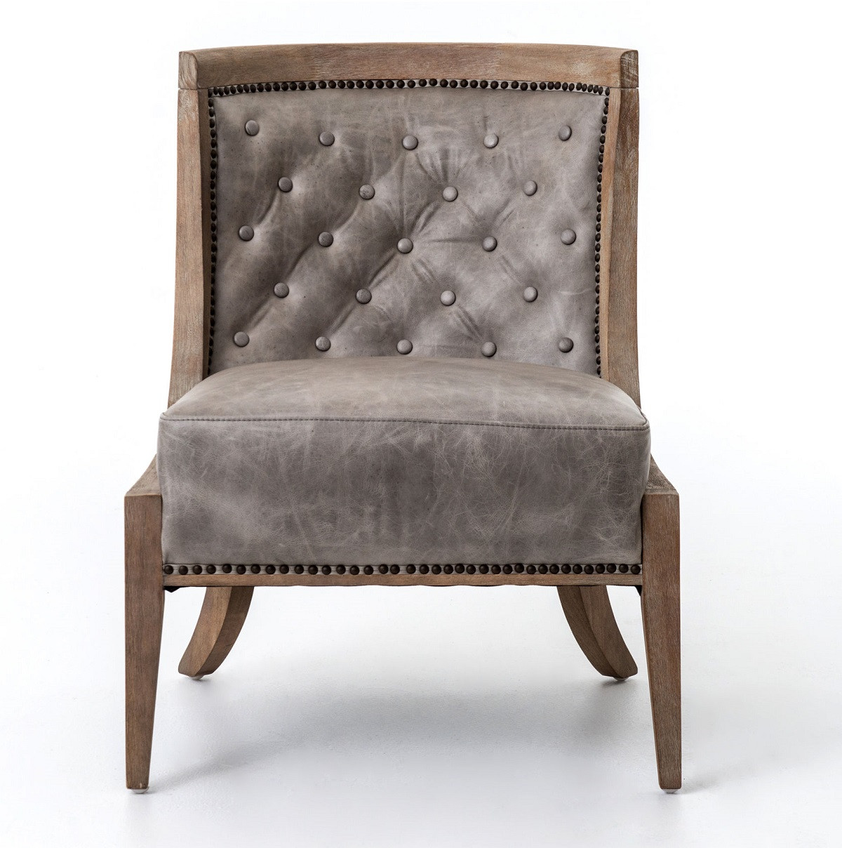 Light Grey Accent Chair: Monroe Light Grey Leather Accent Slipper Chair