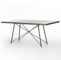 "Roman Oxidized Iron Geometric Dining Table 84"""