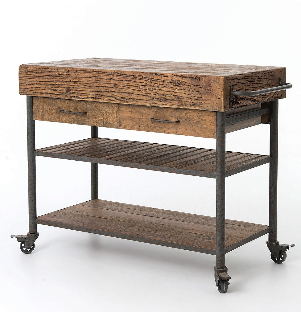 reclaimed kitchen island industrial reclaimed wood kitchen island cart on wheels 14677