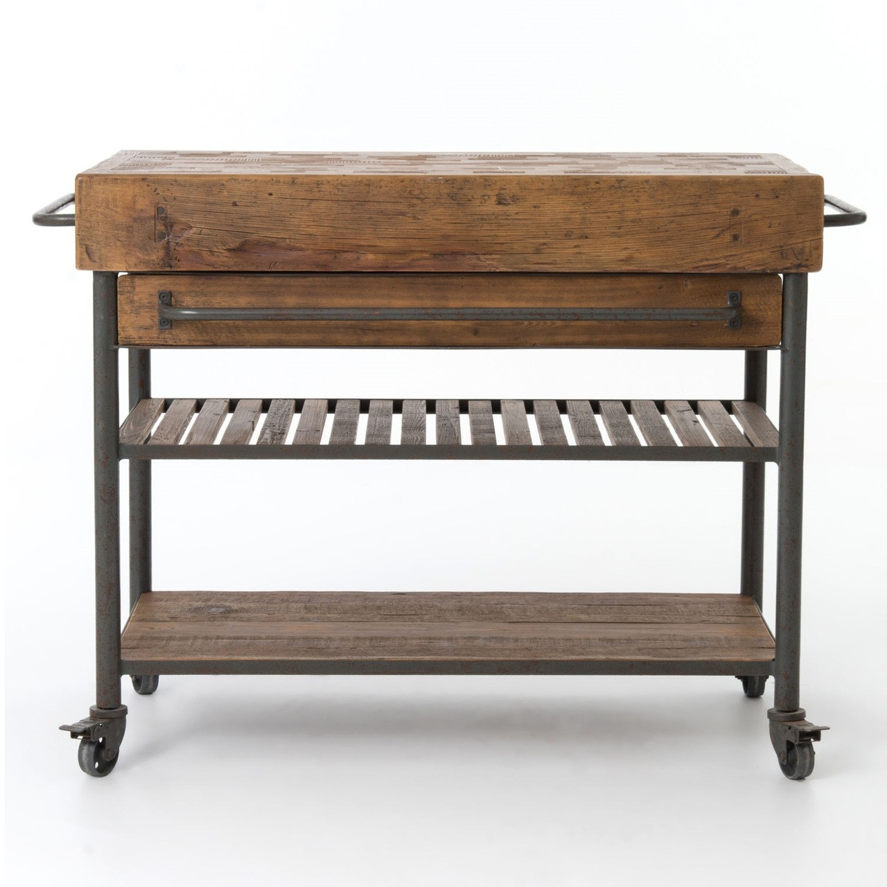 Urban Industrial Age Kitchen Warehouse Cart Island By: Industrial Reclaimed Wood Kitchen Island Cart On Wheels