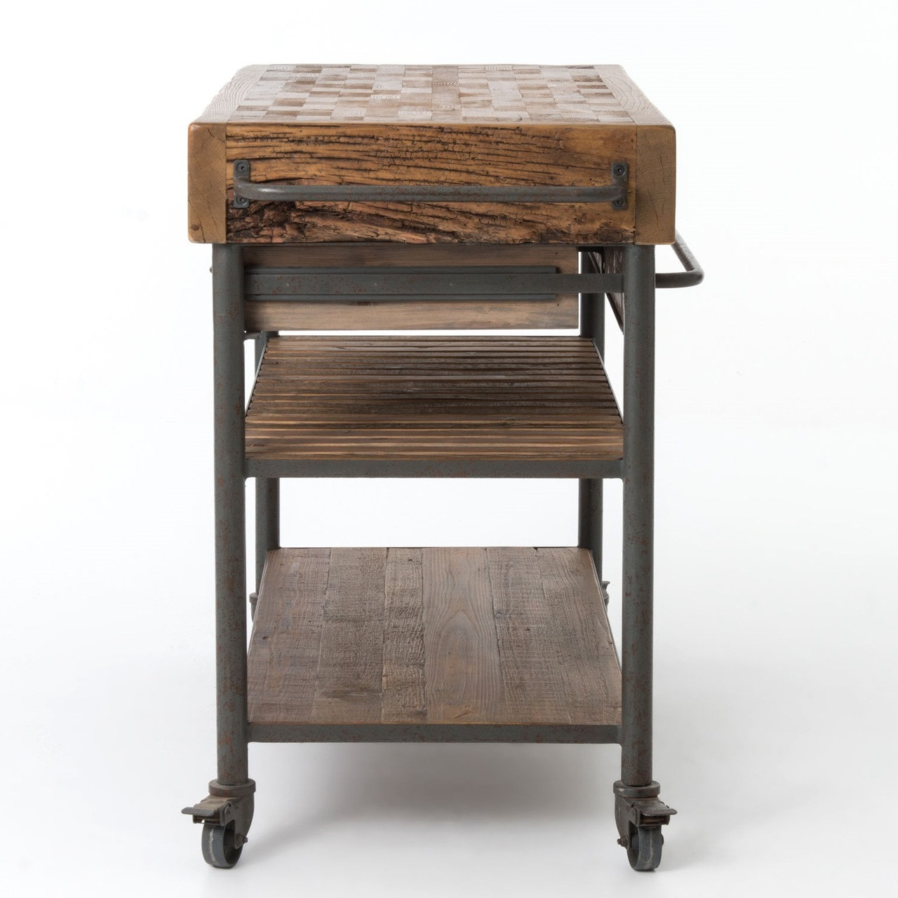 Industrial Reclaimed Wood Kitchen Island Cart on Wheels ...