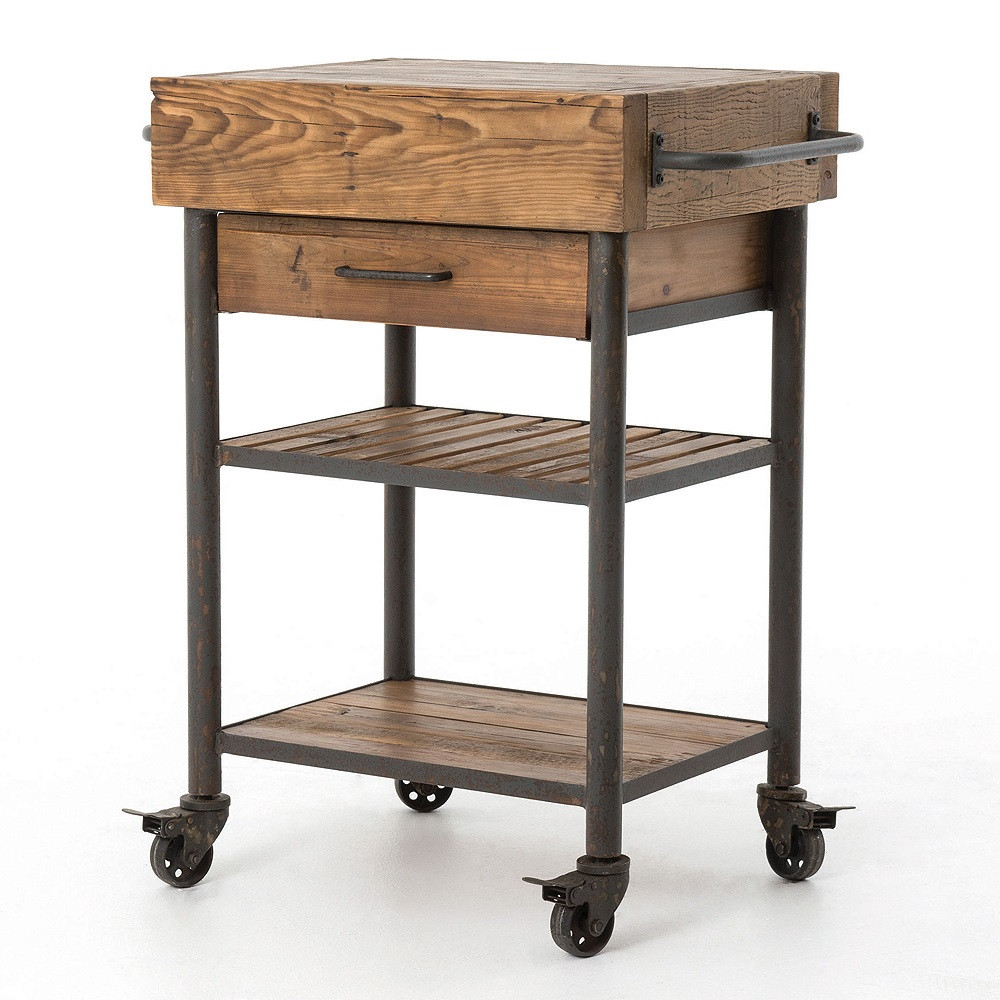 Industrial Reclaimed Wood Rolling Kitchen Island Cart ...