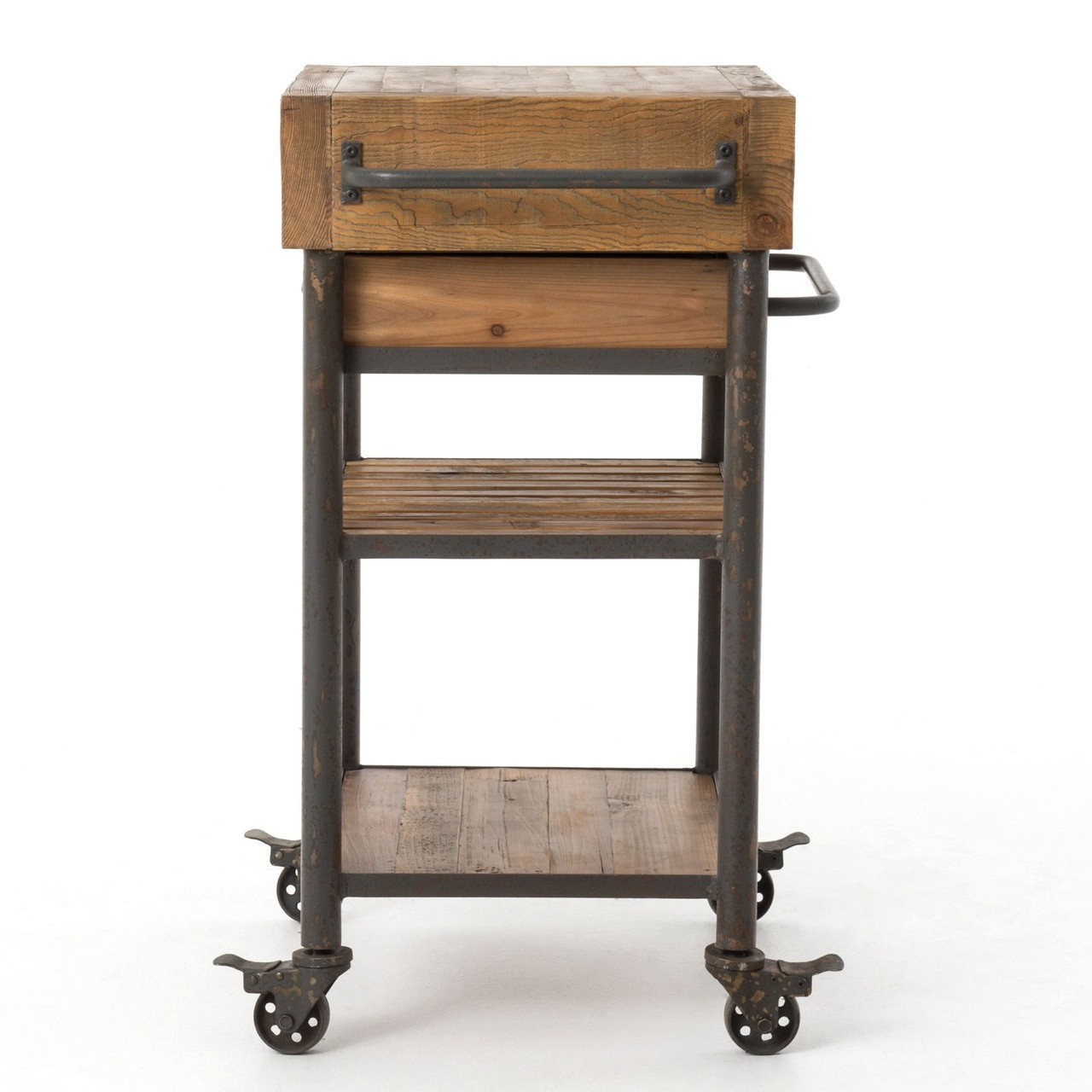 Modern Rustic Industrial Country Portable Kitchen Cart: Industrial Reclaimed Wood Rolling Kitchen Island Cart