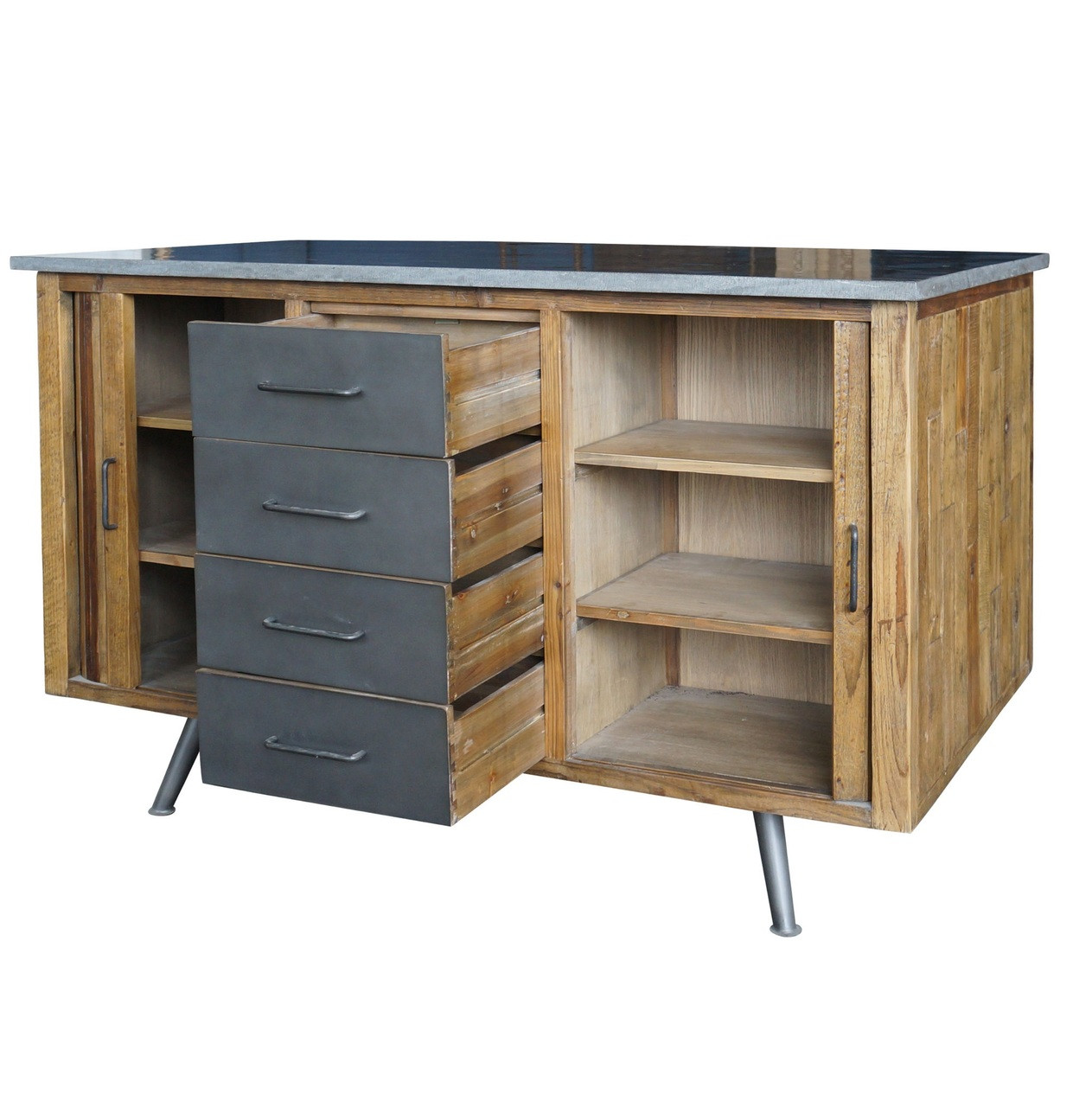 Modern Rustic Industrial Country Portable Kitchen Cart: Industrial Rustic Reclaimed Wood Large Kitchen Island