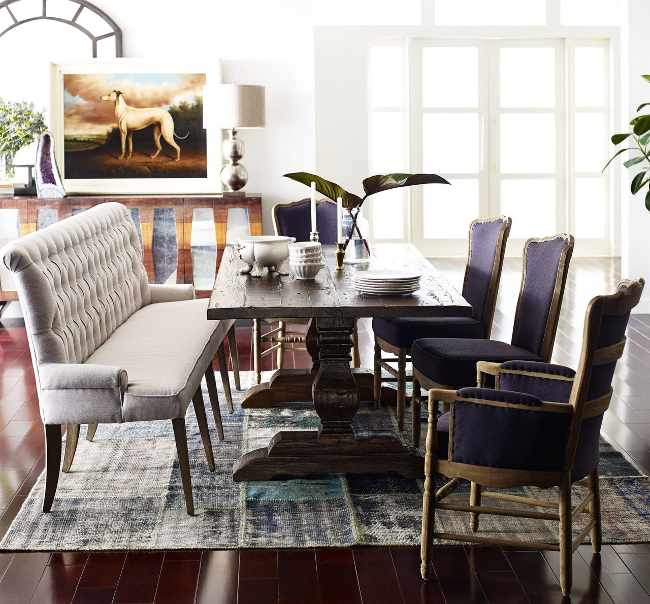 Weathered Umber Reclaimed Oak Wood Trestle Dining Table 87 Quot