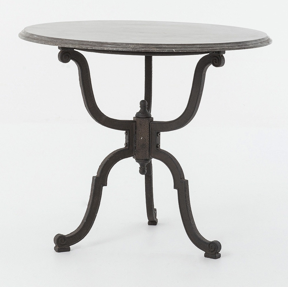 French Industrial Iron Bluestone Bistro Round Pedestal Table