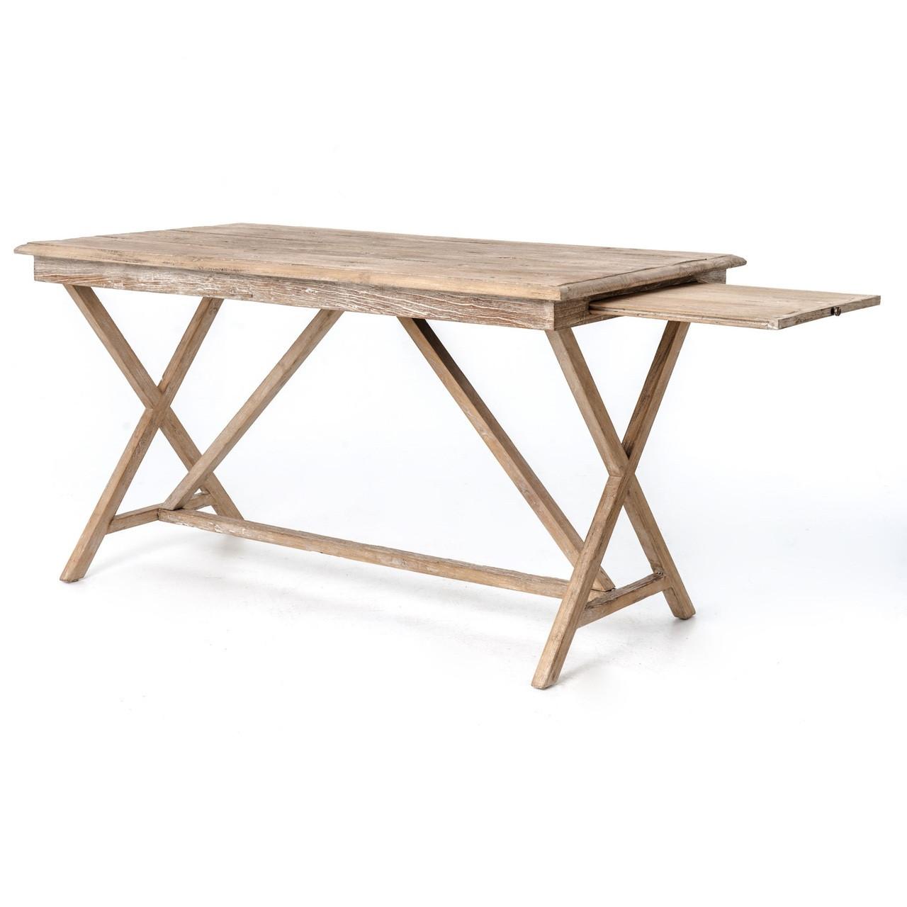 Rustic Americana Hardwood Executive Desk Home Office: Palma Rustic Whitewash Reclaimed Wood Desk