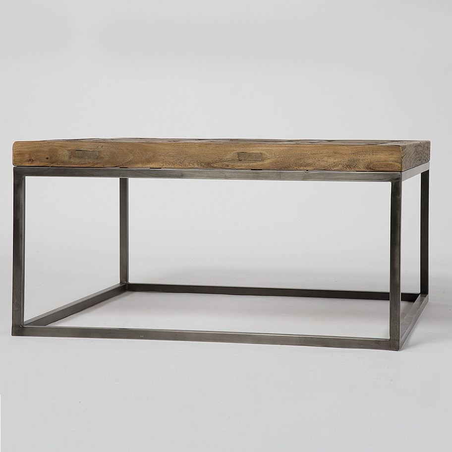 ... Metal and Wood coffee Table ... - Mosaic Reclaimed Wood And Metal Square Bunching Table Zin Home