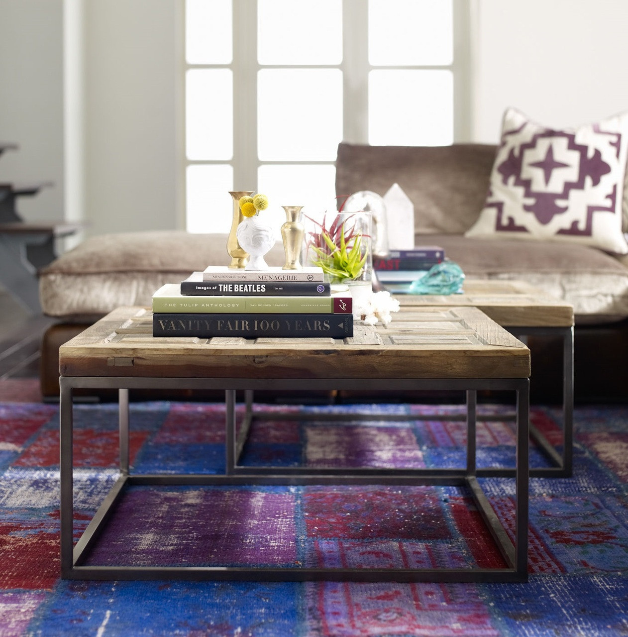 Suffolk Simplicity Reclaimed Wood Square Industrial Coffee: Mosaic Reclaimed Wood And Metal Square Bunching Table