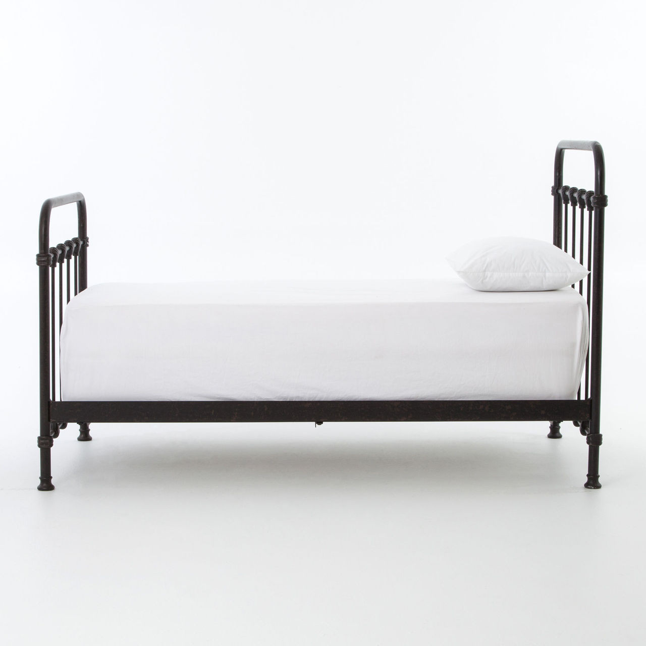 Black twin beds gray white sofa sleeper convertible for Black twin bed frame