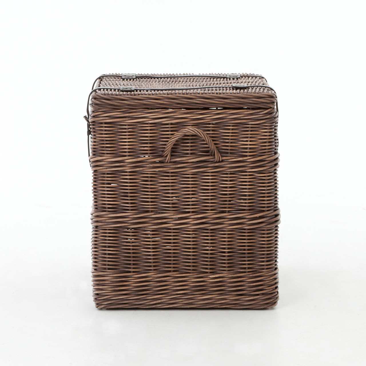 Suffolk Simplicity Reclaimed Wood Square Industrial Coffee: Wicker Woven Trunk End Table