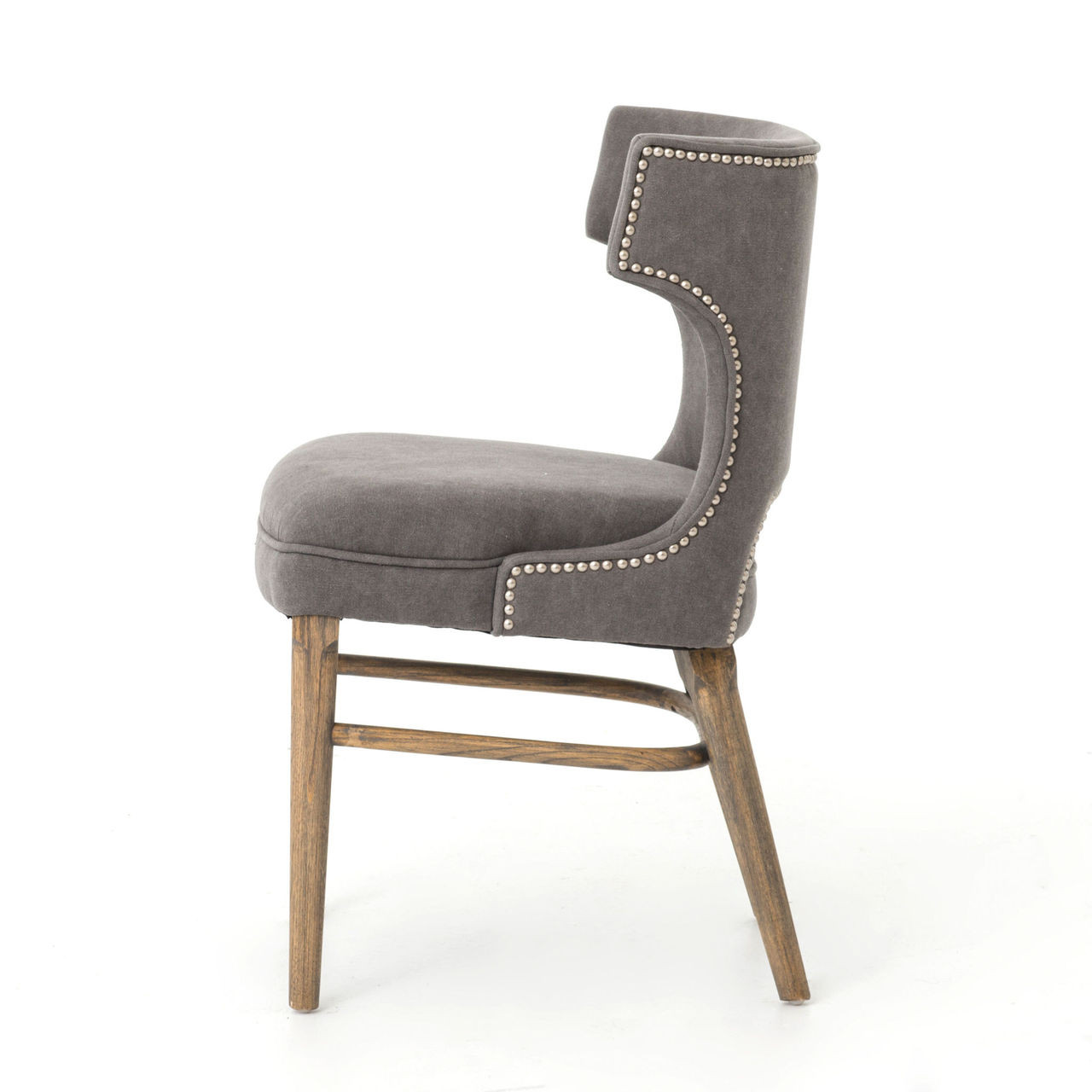 Grey Dining Room Chairs: Task Dark Gray Nailhead Wing Dining Chair