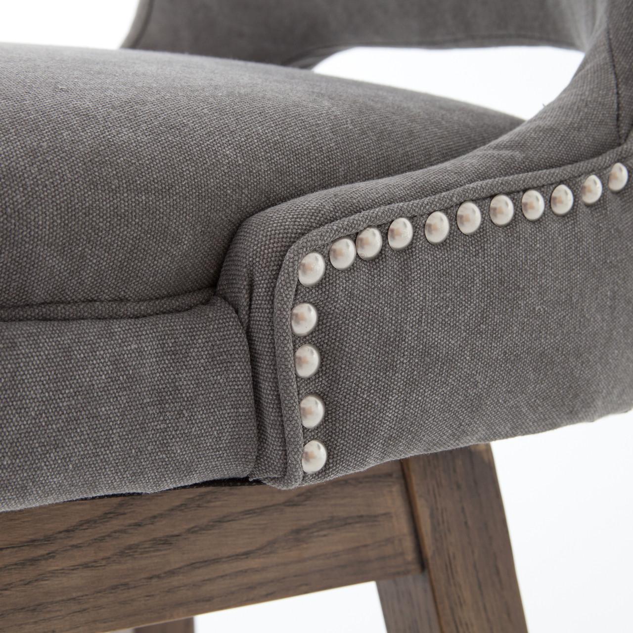 Task Dark Gray Upholstered Nailhead Wing Counter Stool