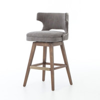 Task Dark Gray Nailhead Wing Swivel Bar Stool