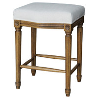Ashford French White Linen Upholstered Oak Counter Stool