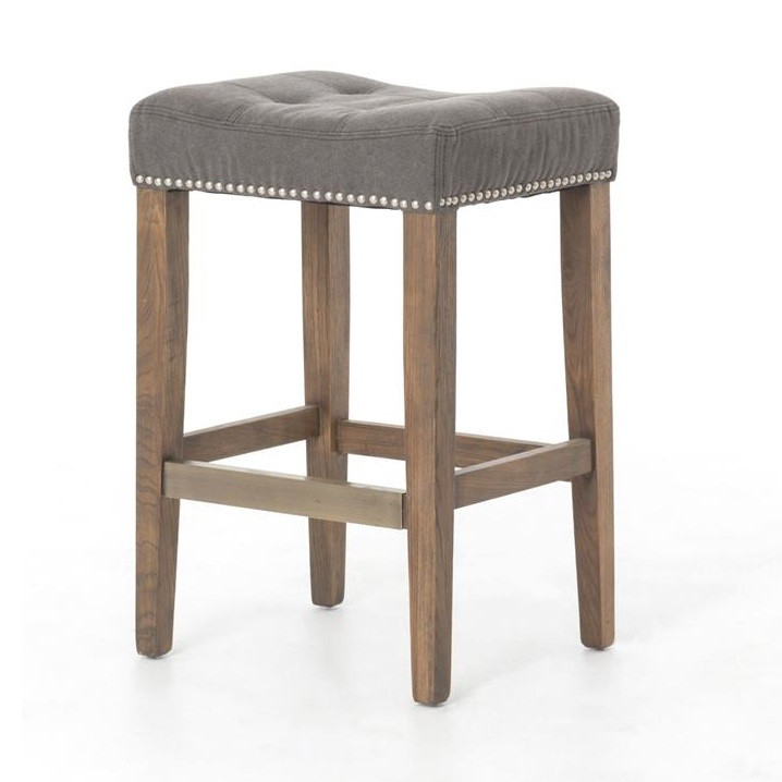 Ashford French Grey Tufted Nailhead Counter Stool Zin Home
